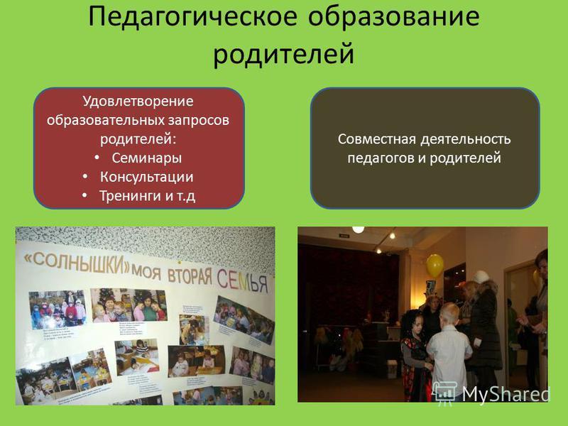 Педагогическое образование родителей Удовлетворение образовательных запросов родителей: Семинары Консультации Тренинги и т.д Совместная деятельность педагогов и родителей