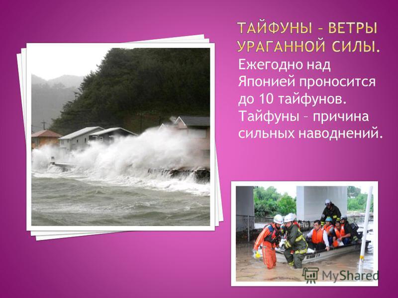 Ежегодно над Японией проносится до 10 тайфунов. Тайфуны – причина сильных наводнений.