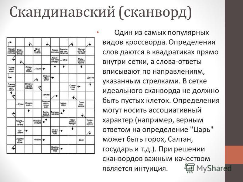 Скандинавский (сканворд) Один из самых популярных видов кроссворда. Определения слов даются в квадратиках прямо внутри сетки, а слова-ответы вписывают по направлениям, указанным стрелками. В сетке идеального сканворда не должно быть пустых клеток. Оп