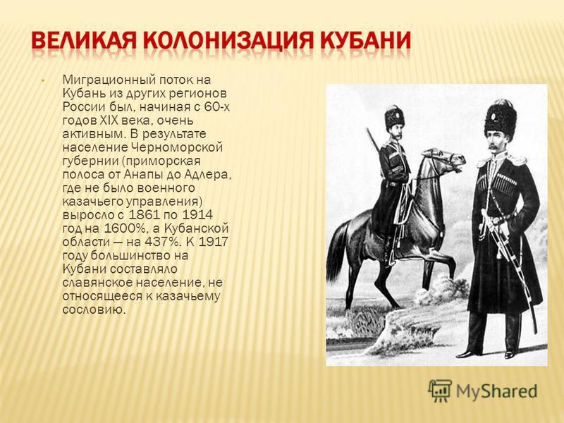 Миграционный поток на Кубань из других регионов России был, начиная с 60-х годов XIX века, очень активным. В результате население Черноморской губернии (приморская полоса от Анапы до Адлера, где не было военного казачьего управления) выросло с 1861 п
