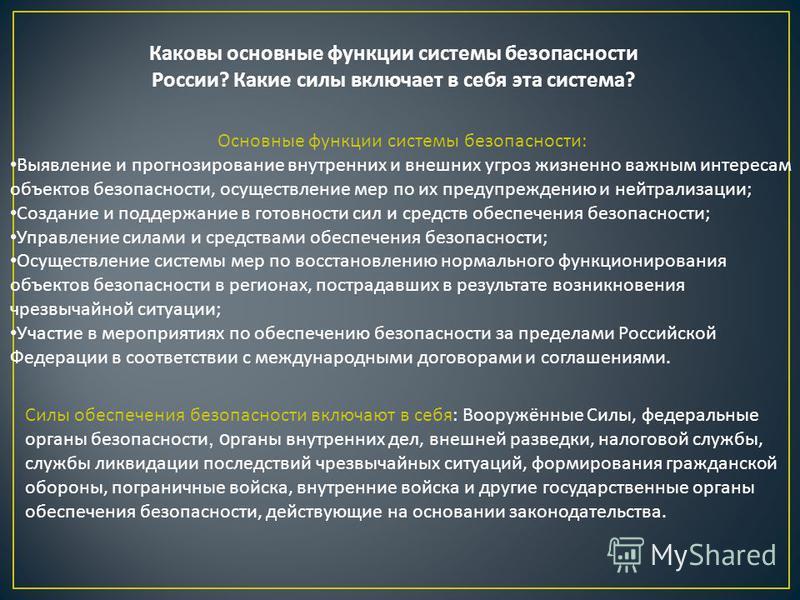 Каковы основные функции системы безопасности России? Какие силы включает в себя эта система? Основные функции системы безопасности: Выявление и прогнозирование внутренних и внешних угроз жизненно важным интересам объектов безопасности, осуществление