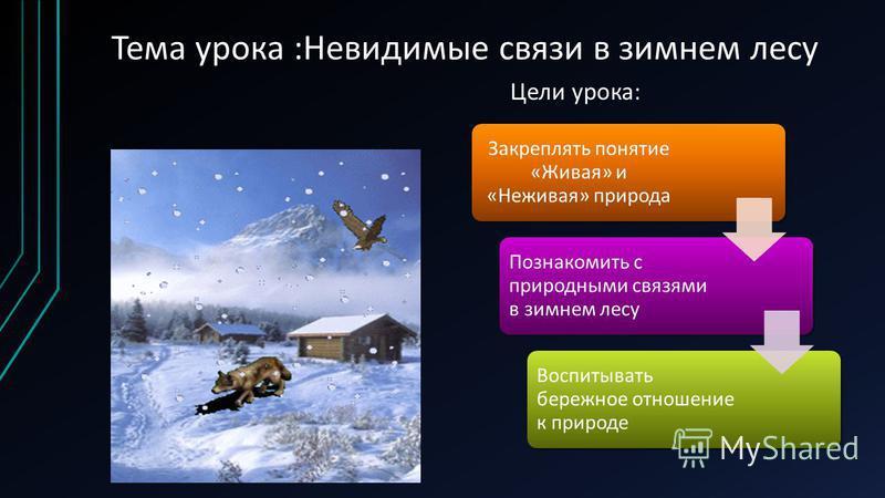 Тема урока :Невидимые связи в зимнем лесу Закреплять понятие «Живая» и «Неживая» природа Познакомить с природными связями в зимнем лесу Воспитывать бережное отношение к природе Цели урока:
