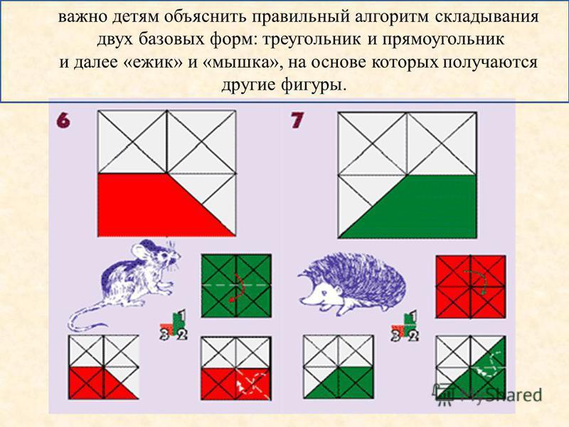 важно детям объяснить правильный алгоритм складывания двух базовых форм: треугольник и прямоугольник и далее «ежик» и «мышка», на основе которых получаются другие фигуры.