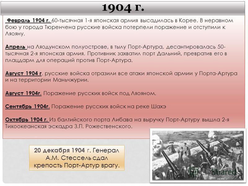 Февраль 1904 г. 60-тысячная 1-я японская армия высадилась в Корее. В неравном бою у города Тюренчена русские войска потерпели поражение и отступили к Ляояну. Апрель на Ляодунском полуострове, в тылу Порт-Артура, десантировалась 50- тысячная 2-я японс
