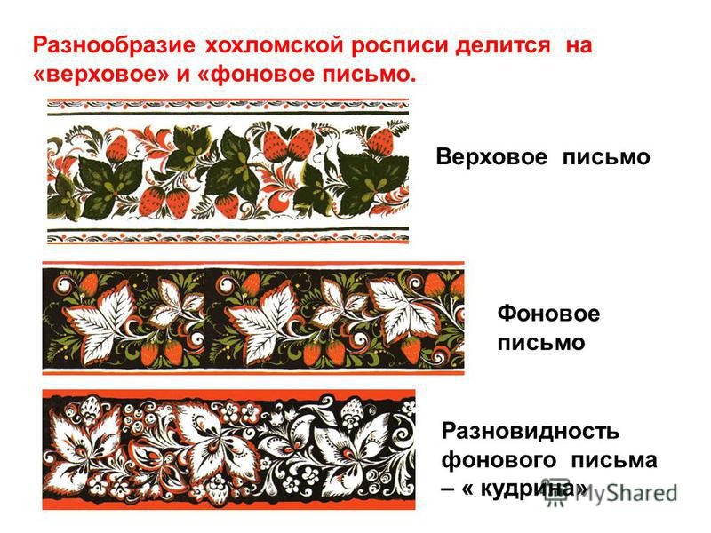 Разнообразие хохломской росписи делится на «верховое» и «фоновое письмо. Верховое письмо Фоновое письмо Разновидность фонового письма – « кудрина»