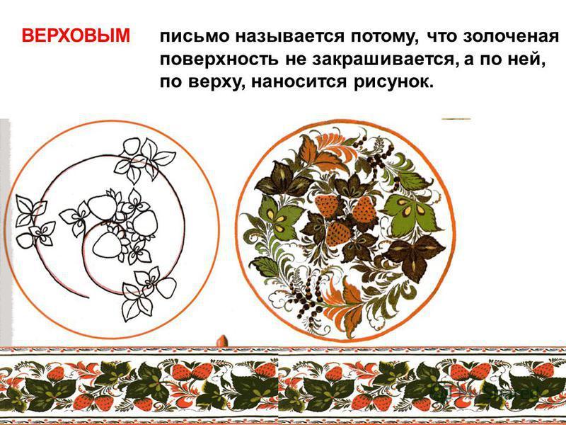 ВЕРХОВЫМ письмо называется потому, что золоченая поверхность не закрашивается, а по ней, по верху, наносится рисунок.