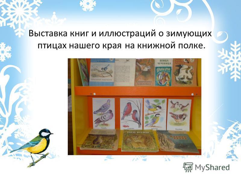 Выставка книг и иллюстраций о зимующих птицах нашего края на книжной полке.
