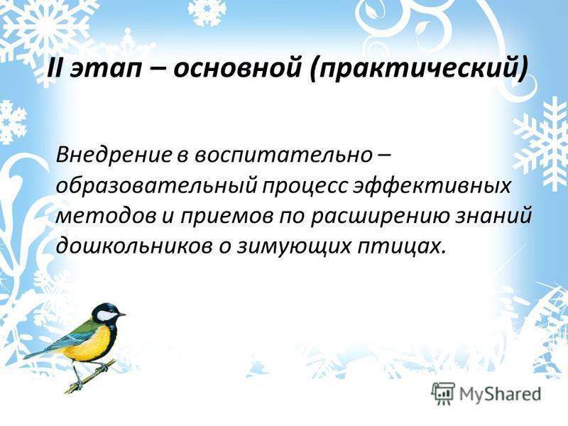 Внедрение в воспитательно – образовательный процесс эффективных методов и приемов по расширению знаний дошкольников о зимующих птицах. II этап – основной (практический)
