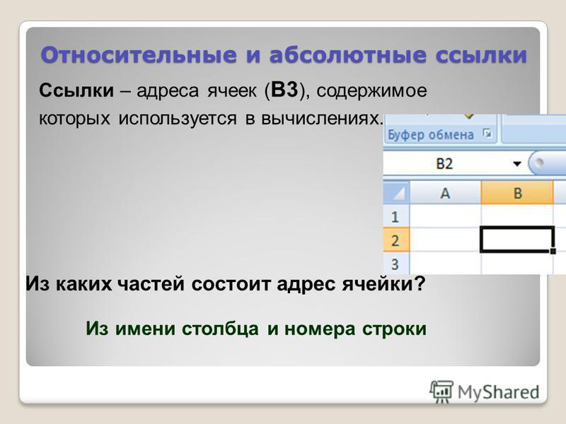 Относительные и абсолютные ссылки Ссылки – адреса ячеек ( В3 ), содержимое которых используется в вычислениях. Из каких частей состоит адрес ячейки? Из имени столбца и номера строки