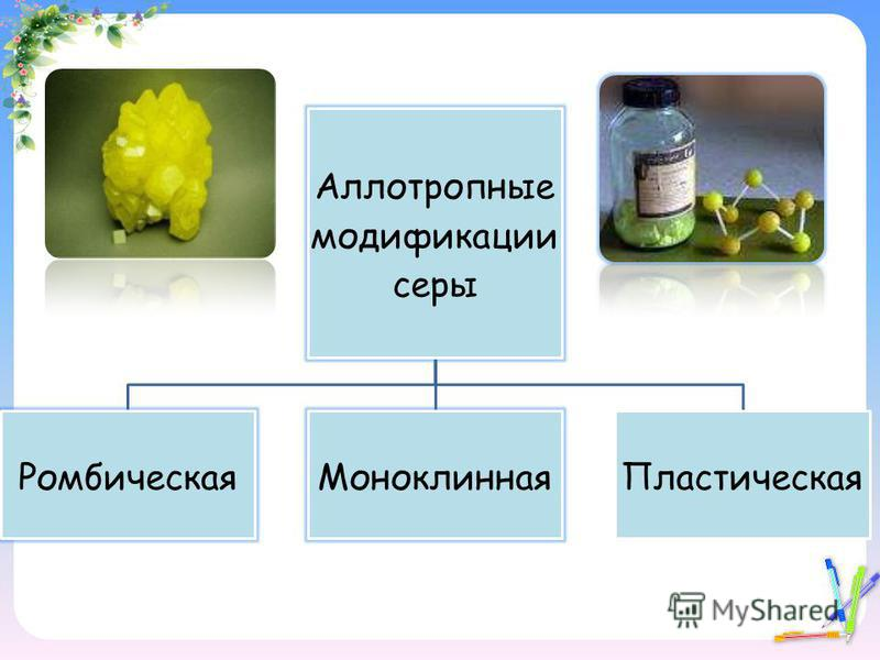 Аллотропные модификации серы Ромбическая МоноклиннаяПластическая