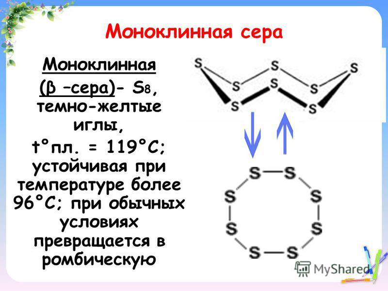 Моноклинная сера Моноклинная (β –сера)- S 8, темно-желтые иглы, t°пл. = 119°C; устойчивая при температуре более 96°С; при обычных условиях превращается в ромбическую