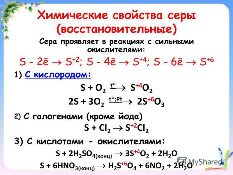 Химические свойства серы (восстановительные) Сера проявляет в реакциях с сильными окислителями: S - 2ē S +2 ; S - 4ē S +4 ; S - 6ē S +6 1) C кислородом: C кислородом: S + O 2 t S +4 O 2 2S + 3O 2 t ;Рt 2S +6 O 3 2) С галогенами (кроме йода) S + Cl 2