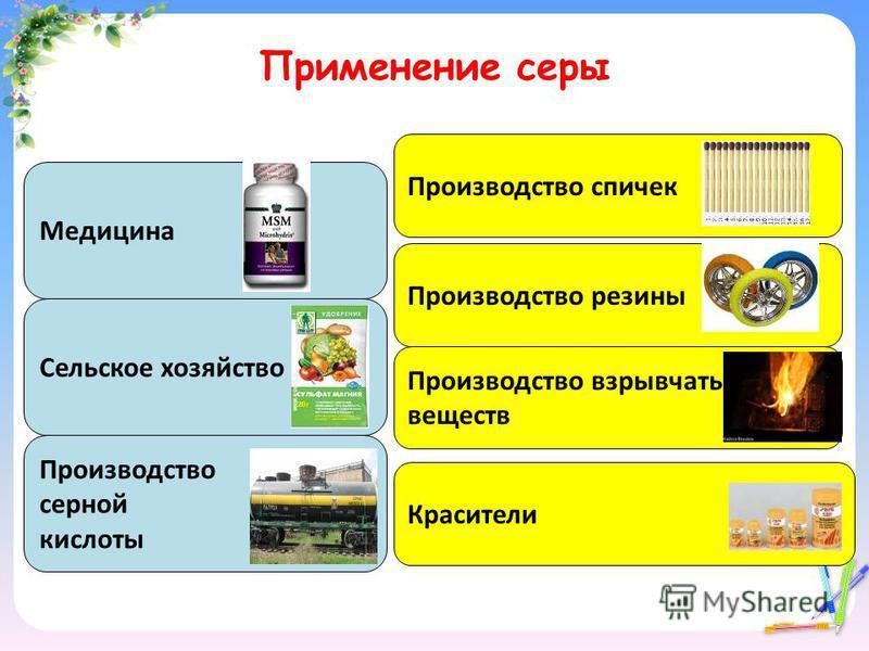 Применение серы Медицина Производство серной кислоты Сельское хозяйство Производство спичек Производство резины Производство взрывчатых веществ Красители
