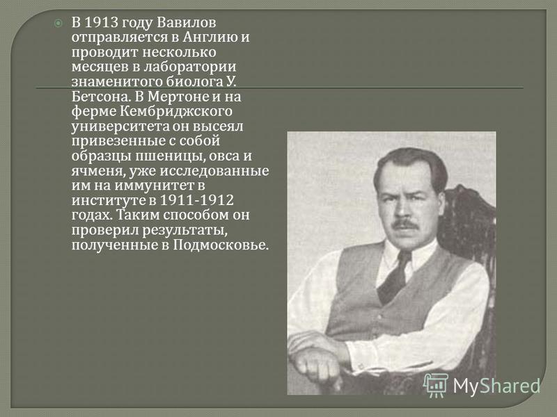 В 1913 году Вавилов отправляется в Англию и проводит несколько месяцев в лаборатории знаменитого биолога У. Бетсона. В Мертоне и на ферме Кембриджского университета он высеял привезенные с собой образцы пшеницы, овса и ячменя, уже исследованные им на