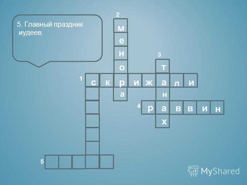 2 3 1 4 5 скрижа л и м е н о а т н а х р в ви н 5. Главный праздник иудеев.