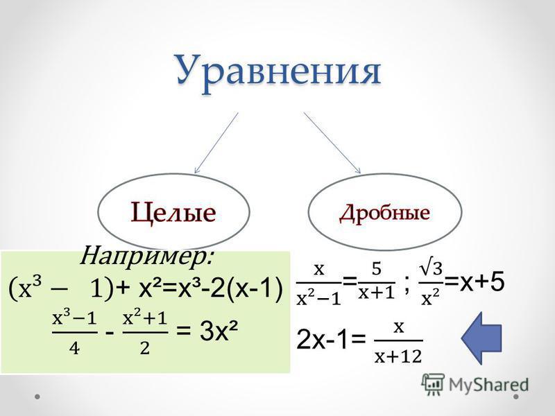 План урока Какие уравнения называются целыми? Какие уравнения называются целыми? Что называется степенью уравнения? Сколько корней имеет уравнение n-й степени?Сколько корней имеет уравнение n-й степени? Методы решения уравнений первой, второй и треть