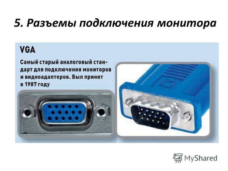 5. Разъемы подключения монитора