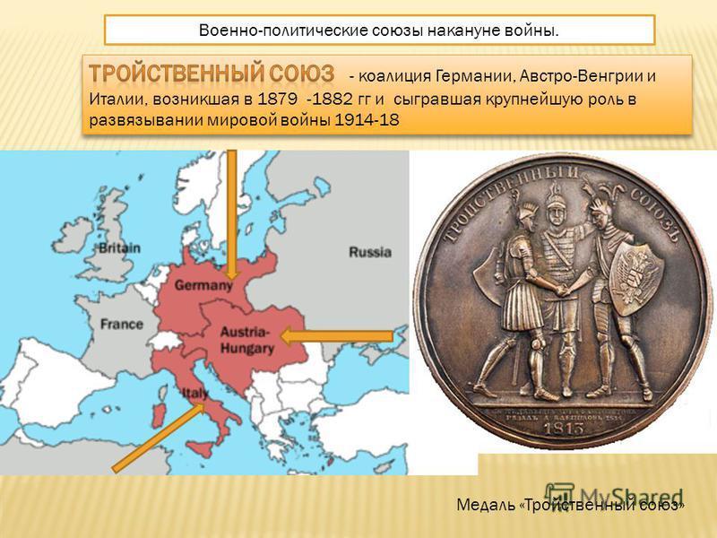 Военно-политические союзы накануне войны. Медаль «Тройственный союз»