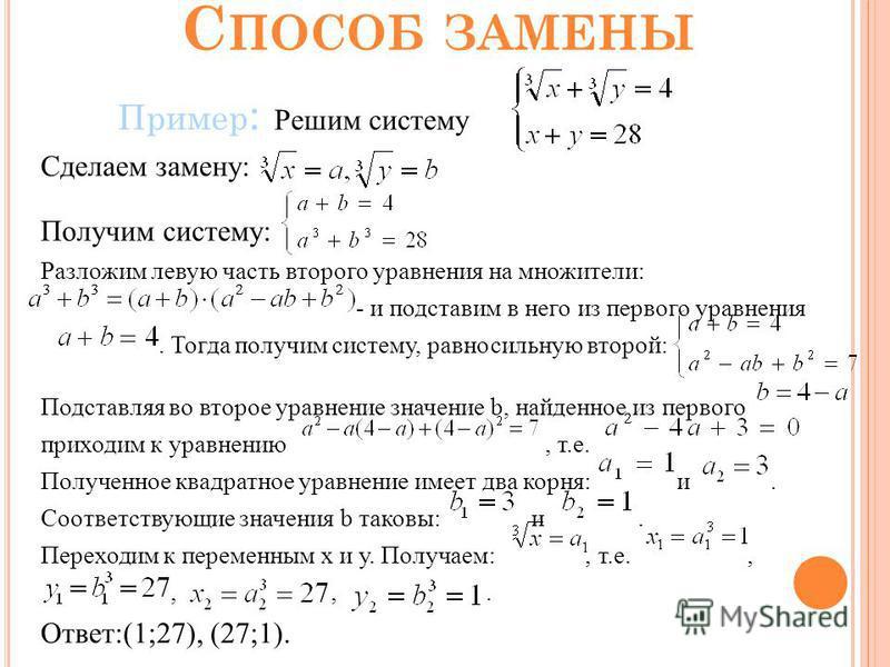 С ПОСОБ ЗАМЕНЫ Пример : Решим систему Сделаем замену: Получим систему: Разложим левую часть второго уравнения на множители: - и подставим в него из первого уравнения. Тогда получим систему, равносильную второй: Подставляя во второе уравнение значение