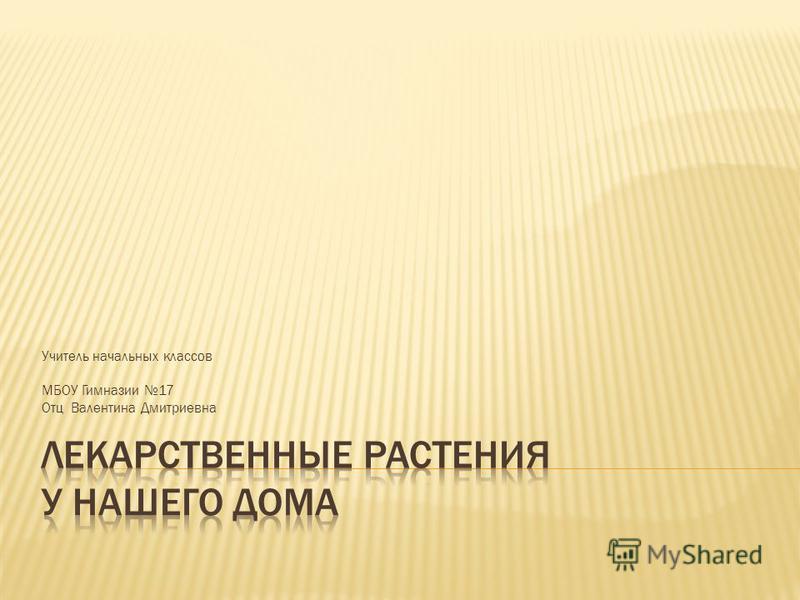 Учитель начальных классов МБОУ Гимназии 17 Отц Валентина Дмитриевна