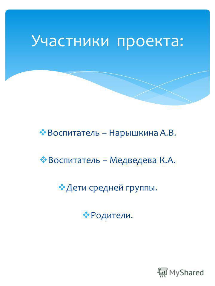 воспитатели средней группы: Нарышкина А.В Медведева К.А. Разработчики проекта: