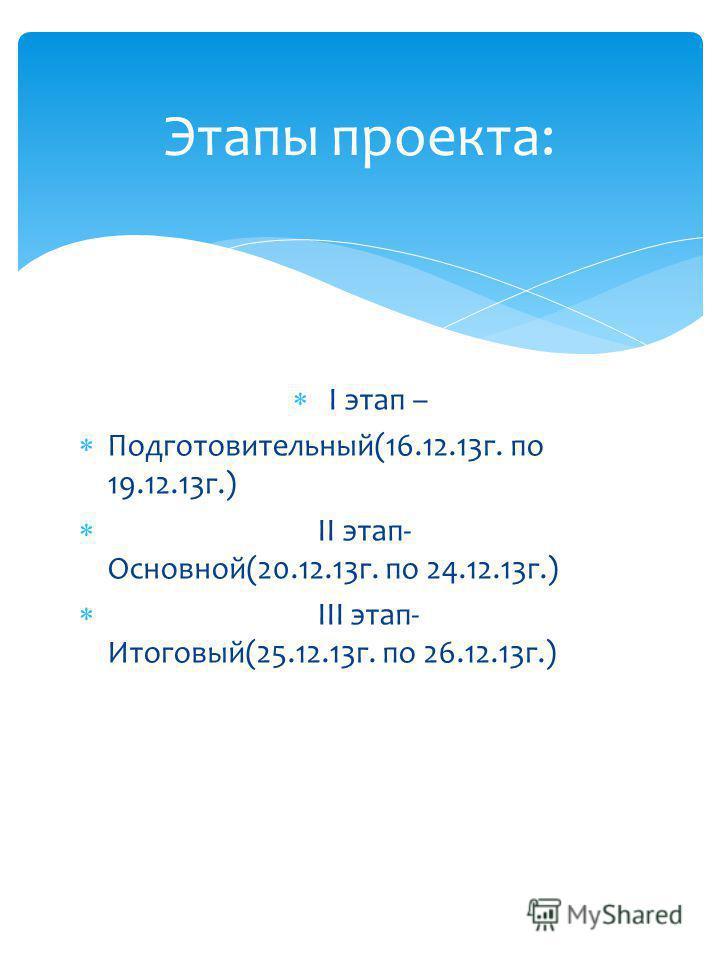 16.12.2013 г. по 26.12.2013 г. Срок реализации: