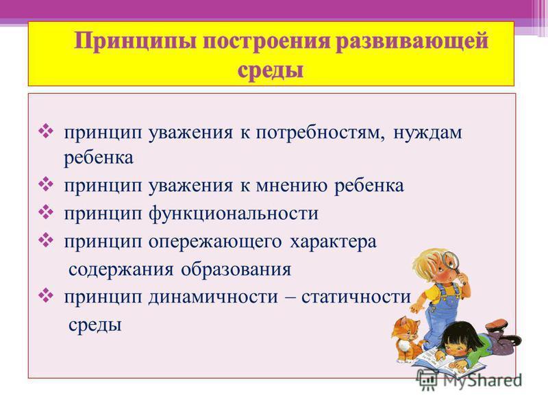 принцип уважения к потребностям, нуждам ребенка принцип уважения к мнению ребенка принцип функциональности принцип опережающего характера содержания образования принцип динамичности – статичности среды