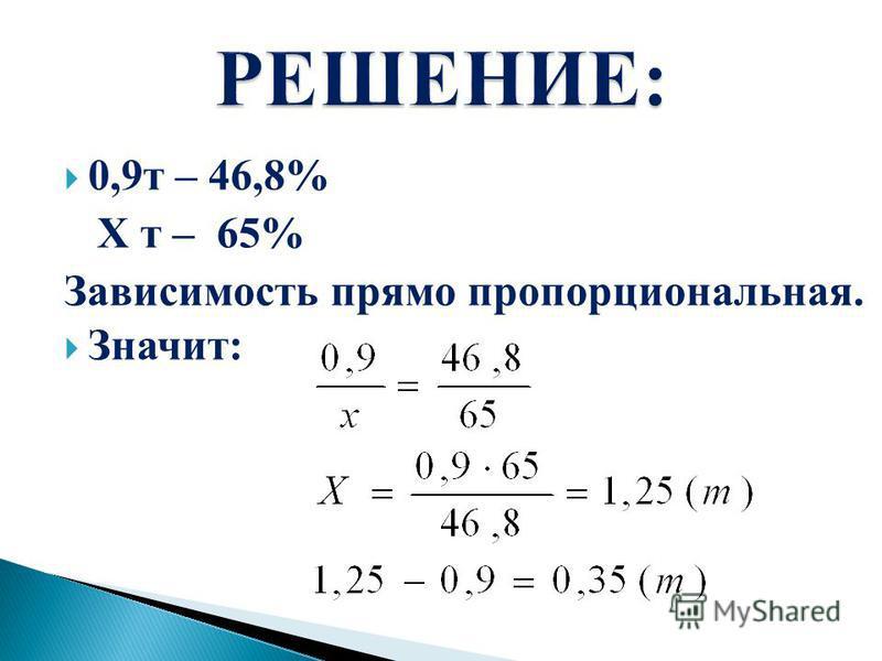 0,9 т – 46,8% X т – 65% Зависимость прямо пропорциональная. Значит: