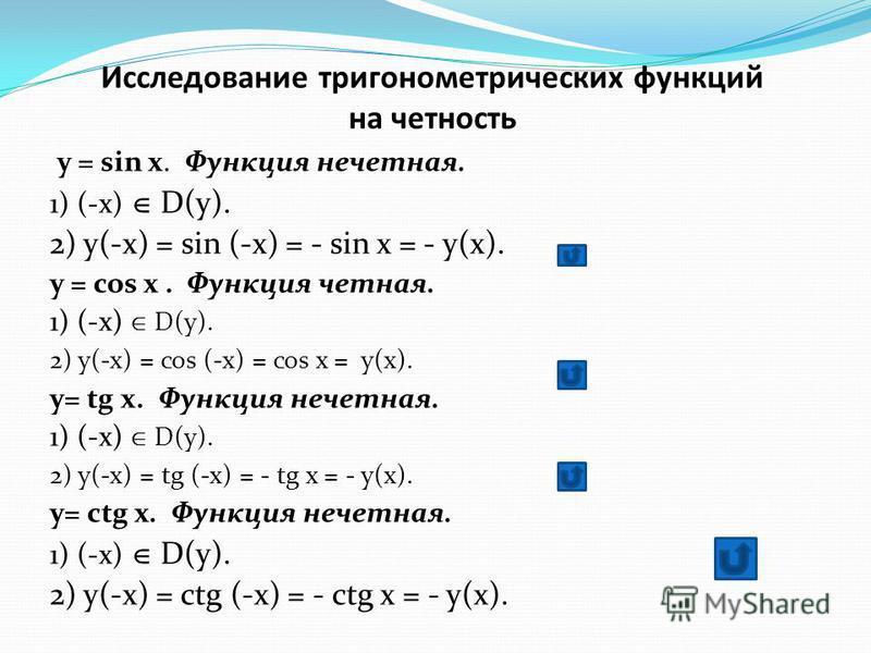 Исследование тригонометрических функций на четность y = sin x. Функция нечетная. 1) (-x) D(y). 2) y(-x) = sin (-x) = - sin x = - y(x). y = cos x. Функция четная. 1) (-x) D(y). 2) y(-x) = cos (-x) = cos x = y(x). y= tg x. Функция нечетная. 1) (-x) D(y