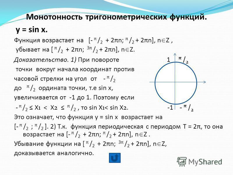 Монотонность тригонометрических функций. y = sin x. Функция возрастает на [- π / 2 + 2πn; π / 2 + 2πn], n Z, убывает на [ π / 2 + 2πn; 3π / 2 + 2πn], n Z. Доказательство. 1) При повороте 1 π / 2 точки вокруг начала координат против часовой стрелки на