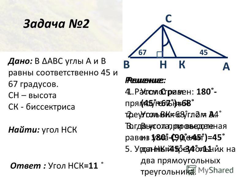 Задача 2 Дано: В ABC углы А и В равны соответственно 45 и 67 градусов. СН – высота СК - биссектриса Найти: угол НСК Ответ : Угол НСК=11 ˚ А С НВ Решение: 1. Угол С равен: 180˚- (45˚+67˚)=68˚ 2. Угол ВК=68˚ : 2 = 34˚ 3.Высота, проведенная из угла С, д