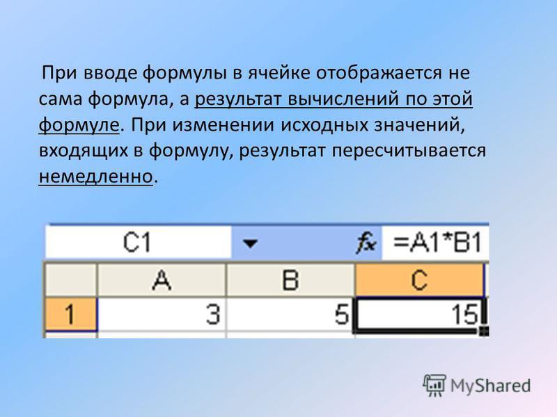 При вводе формулы в ячейке отображается не сама формула, а результат вычислений по этой формуле. При изменении исходных значений, входящих в формулу, результат пересчитывается немедленно.