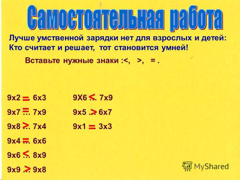 Лучше умственной зарядки нет для взрослых и детей: Кто считает и решает, тот становится умней! Вставьте нужные знаки :, =. 9 х 2 … 6 х 3 9Х6 … 7 х 9 9 х 7 … 7 х 9 9 х 5 … 6 х 7 9 х 8 … 7 х 4 9 х 1 … 3 х 3 9 х 4 … 6 х 6 9 х 6 … 8 х 9 9 х 9 … 9 х 8 = =