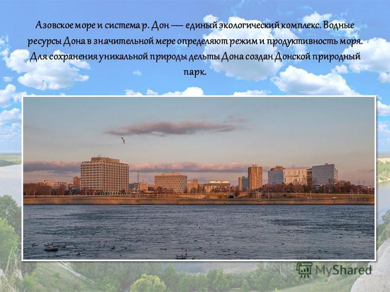 Азовское море и система р. Дон единый экологический комплекс. Водные ресурсы Дона в значительной мере определяют режим и продуктивность моря. Для сохранения уникальной природы дельты Дона создан Донской природный парк.