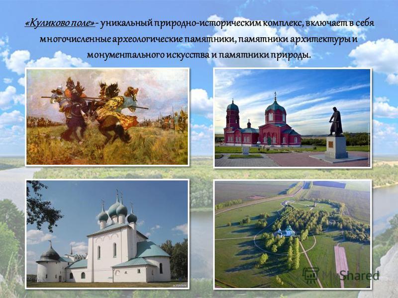 «Куликово поле» - уникальный природно-историческим комплекс, включает в себя многочисленные археологические памятники, памятники архитектуры и монументального искусства и памятники природы.