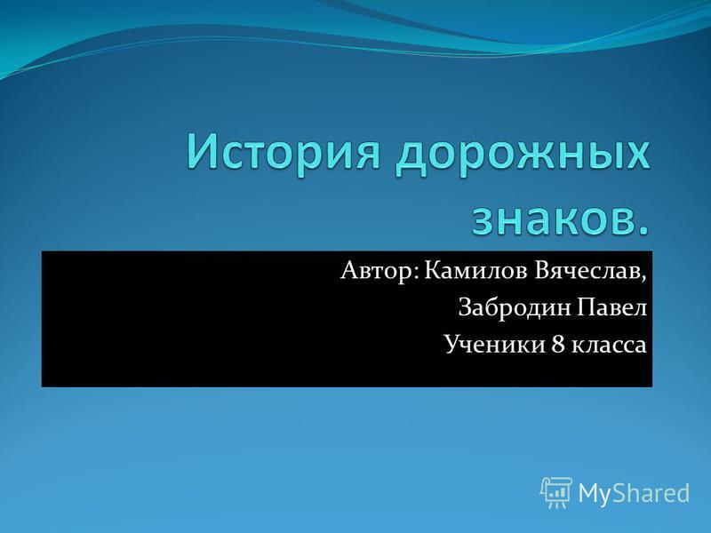Автор: Камилов Вячеслав, Забродин Павел Ученики 8 класса