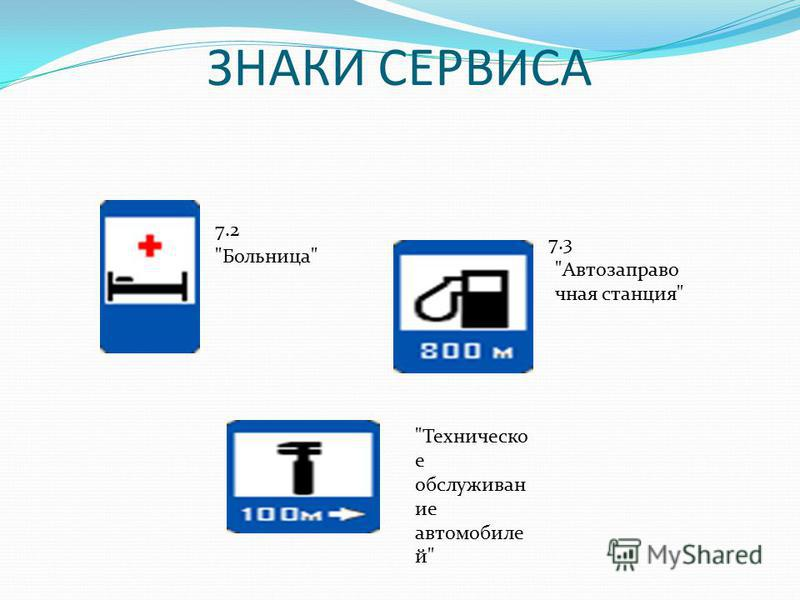 ЗНАКИ СЕРВИСА Больница 7.2 Автозаправо чная станция 7.3 Техническо е обслуживание автомобилей