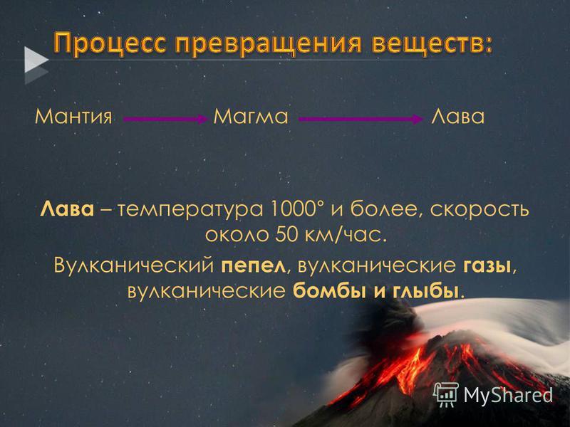 Мантия Магма Лава Лава – температура 1000° и более, скорость около 50 км/час. Вулканический пепел, вулканические газы, вулканические бомбы и глыбы.