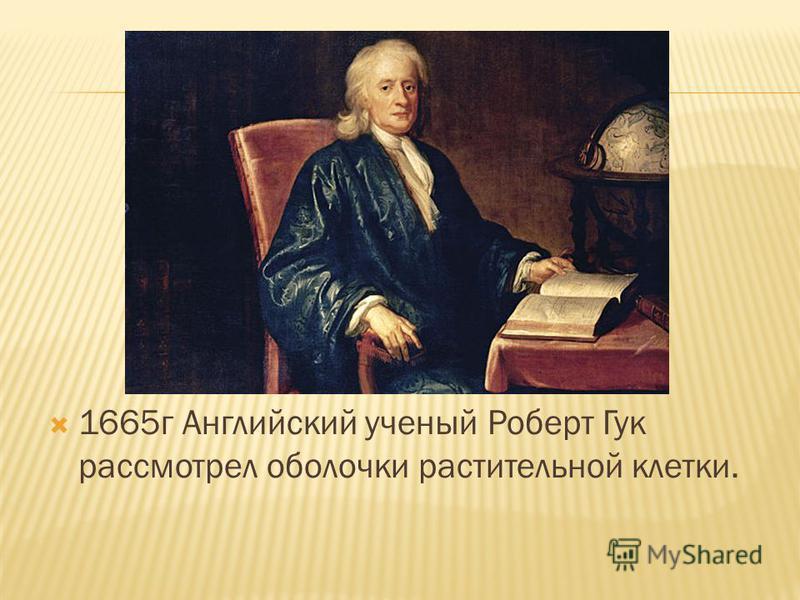 1665 г Английский ученый Роберт Гук рассмотрел оболочки растительной клетки.