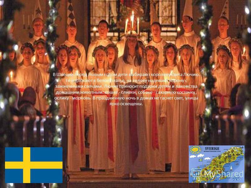В Швеции перед Новым годом дети выбирают королеву света Лючию. Ее наряжают в белое платье, на голову надевают корону с зажженными свечами. Лючия приносит подарки детям и лакомства домашним животным: кошке - сливки, собаке - сахарную косточку, ослику