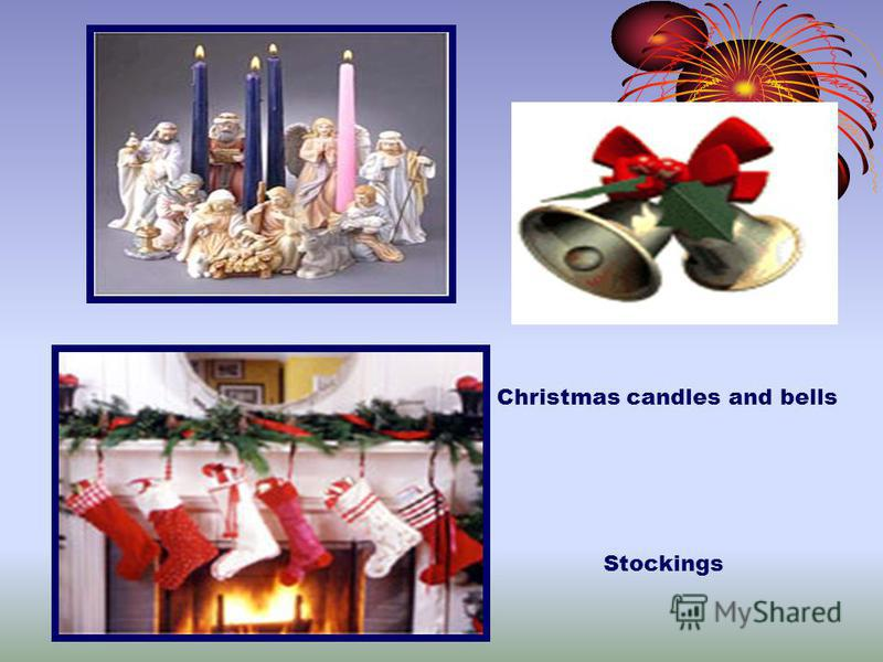 Christmas candles and bells Stockings