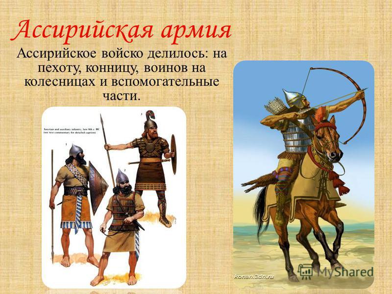 Ассирийская армия Ассирийское войско делилось: на пехоту, конницу, воинов на колесницах и вспомогательные части.