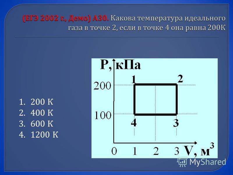 1. 200 К 2. 400 К 3. 600 К 4. 1200 К