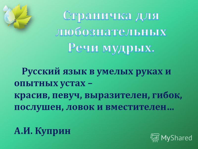 Русский язык в умелых руках и опытных устах – красив, певуч, выразителен, гибок, послушен, ловок и вместителен… А.И. Куприн
