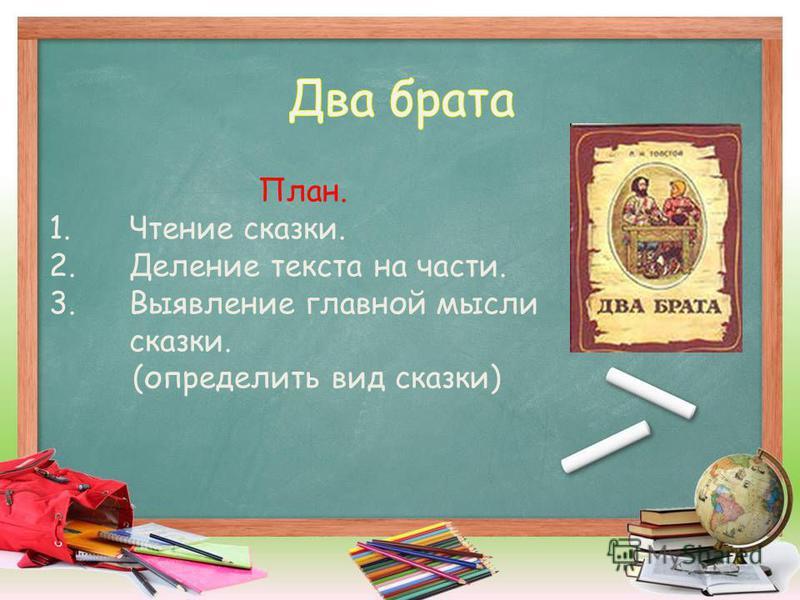 План. 1. Чтение сказки. 2. Деление текста на части. 3. Выявление главной мысли сказки. (определить вид сказки)