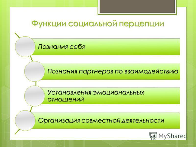 Функции социальной перцепции Познания себя Познания партнеров по взаимодействию Установления эмоциональных отношений Организация совместной деятельности