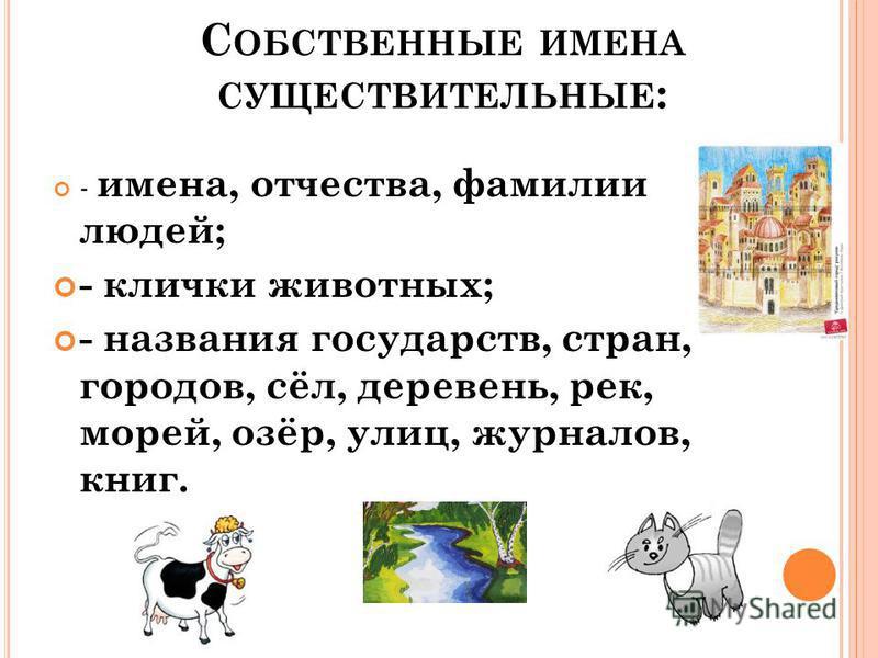 С ОБСТВЕННЫЕ ИМЕНА СУЩЕСТВИТЕЛЬНЫЕ : - имена, отчества, фамилии людей; - клички животных; - названия государств, стран, городов, сёл, деревень, рек, морей, озёр, улиц, журналов, книг.