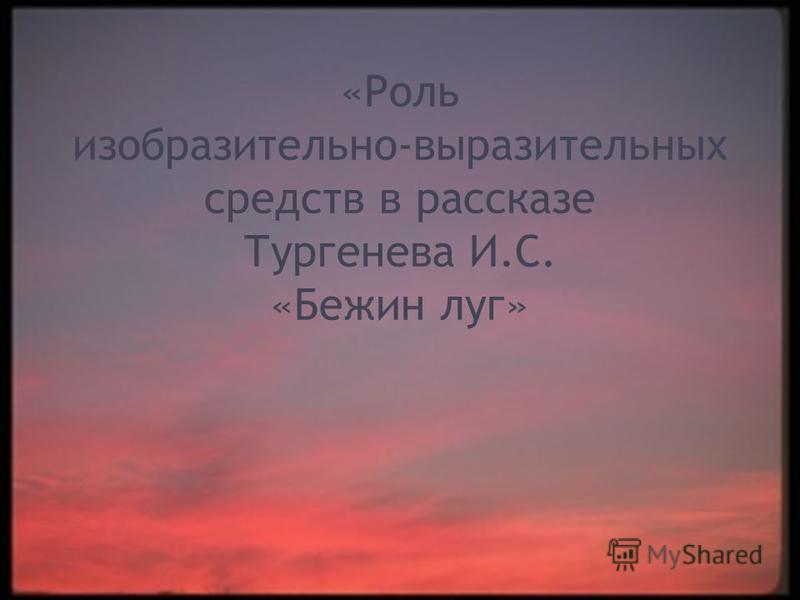 «Роль изобразительно-выразительных средств в рассказе Тургенева И.С. «Бежин луг»