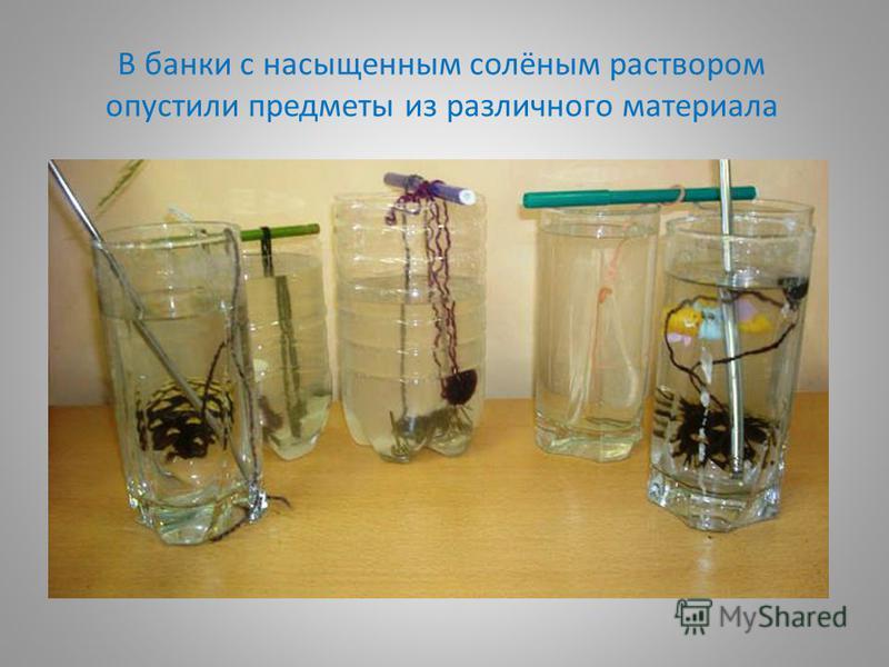 В банки с насыщенным солёным раствором опустили предметы из различного материала