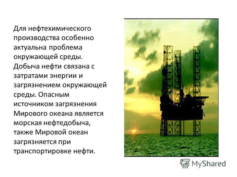 Для нефтехимического производства особенно актуальна проблема окружающей среды. Добыча нефти связана с затратами энергии и загрязнением окружающей среды. Опасным источником загрязнения Мирового океана является морская нефтедобыча, также Мировой океан